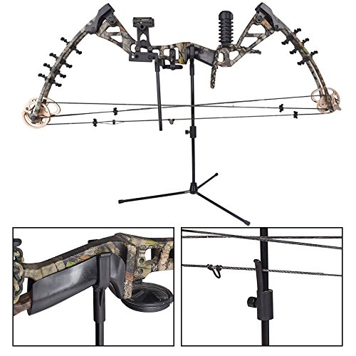 YLA Bow Stands Archery Bowstand Recurve Bow Holder Compound Bows Hanger Targets Shooting Hunting Outdoor BLACK