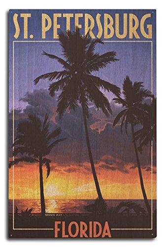 Lantern Press St. Petersburg, Florida - Palms and Sunset (10x15 Wood Wall Sign, Wall Decor Ready to Hang)