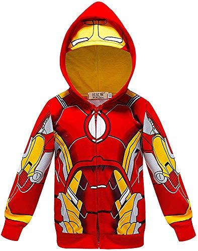 Chaqueta de superhroe con capucha para nios SPI-derman con cremallera completa (color: Iron Man, tamao: 130)