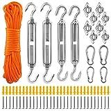 JeWR Kit di fissaggio per tenda da sole, 80 pezzi, in acciaio inox 316, accessori di montaggio, montaggio per giardino e balcone