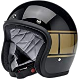 Biltwell - Casco Jet abierto Bonanza negro brillante brillante negro holeshot aprobado por DOT Helmet Biker Look Universal x Genere Custom Vintage Retro años 70 off-Road Street Talla 2XL