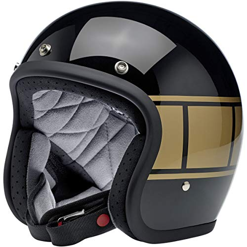 Casco Jet Aperto Biltwell Bonanza Nero Lucido Gloss Black Holeshot Approvato DOT Helmet Biker Look Stile Universale x Genere Custom Vintage retrò Anni 70 off-Road Street Taglia M