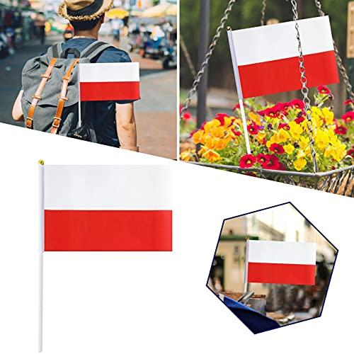 GenericBrands Bandera Polaca Copa de Europa Polaca Mini Bandera Pequeña de Mano Fans Support Decoraciones de Mesa Calle Decoración para Desfiles (como se Muestra, C)