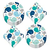Lil' Blue Spout Whale Paper Dinner Plates and Lunch Napkins for Birthday Parties and Baby Showers (Serves 16)