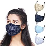 CENWELL® 5 Pcs Pure Cotton Printed Face Mask with Nose Pin , Reusable, Washable Printed Mask with Melt Blown Layer, Adjustable Ear Loop and Ear Saver Strap For Men & Women (Multicolor Mask)