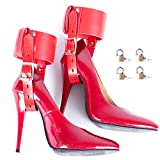 Aaijia Womens Double Ankle Connection High Heels Fixed Lacing Adjustable Black Leather Belt Arm Sport Tactics Suit (Padlock 4 Pieces) (Red)