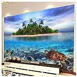 HF-LCZY HD Mundo Subacuático Organismo Marino Foto Mural Papel Sala Acuario Pared Interior Pintura Papel Decoración, 200x140cm | 2 Stripes