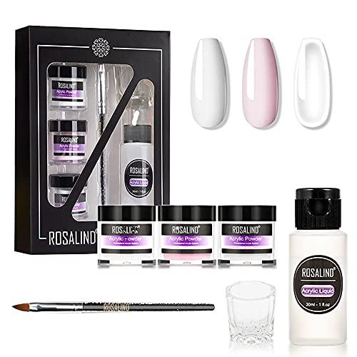 ROSALIND Acrylpulver für Nägel Set mit Flüssigkeit, 3 Farben, transparent, rosa, weiß und ein flüssiger Monomer, Nagelkunst-Pulver für Acrylnägel
