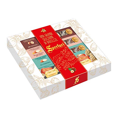 Sperlari - Confezione Regalo, All'interno trovi: Torrone Classico Mandorla, Torrone Tenero Mandorla da 100 g, Torrone Tenero Cacao e Nocciole, Torroncini Morbidelli Teneri assortiti