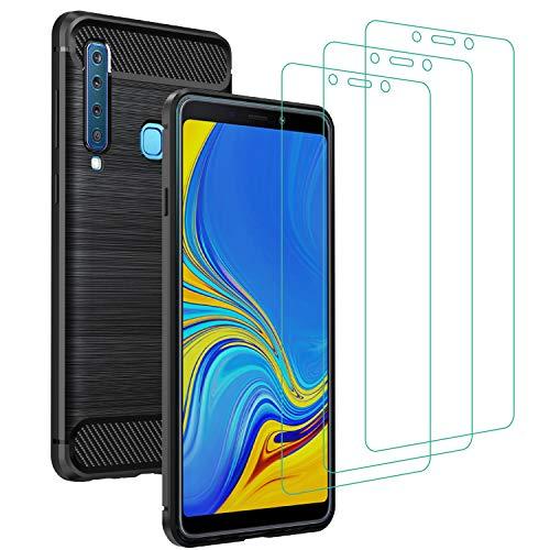 iVoler Cover per Samsung Galaxy A9 2018 con 3 Pezzi Pellicola Vetro Temperato, Fibra di Carbonio Nero Custodia in Morbida Silicone TPU Anti-Graffio Antiurto Protettiva Case