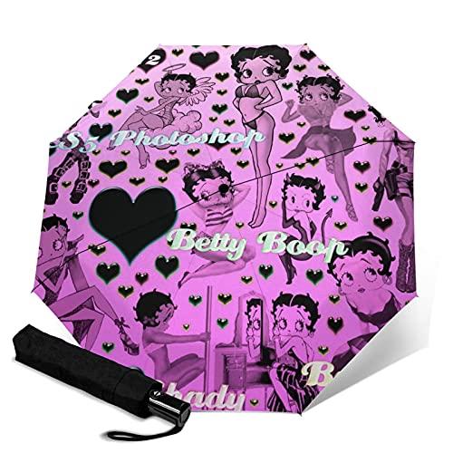 Betty Boop Paraguas plegable portátil automático para mujeres y hombres reforzado resistente al viento marco impermeable y resistente a los rayos UV