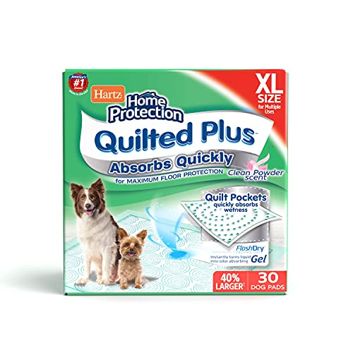 Hartz Home Protection Quilted Plus Dog Pads, Super Absorbent & Won't Leak, Clean Powder Scent, Extra Large, 30 Count