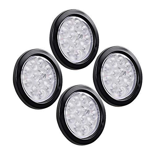 2 Pairs 4 Round 12-LED Clear Lens RED Running Brake Tail Light Truck Trailer RV UTE UTV Kits 12V