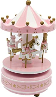 Alytimes Carousel Music Box 4 Horses Rotating Music Box Birthday Valentine's Christmas Children Gifts Toy (Pink-Love)