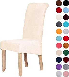 Homaxy Velvet Stretch Esszimmerstuhl Hussen - Spandex Plüsch Stuhlhussen Solide Großes Esszimmer Stuhl Protector Home Decor Set 6, Beige