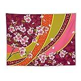 Manta Tapiz Para Colgar En Pared,Telón de fondo oriental Sakura Blossom Japanese Cherry Tree Print, Estera Picnic Decoración Sala Estar,60x80'