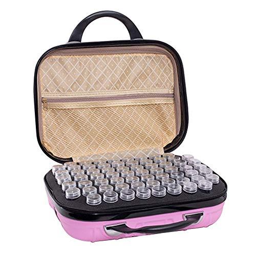 132 Grid Sac de rangement portable pour bouteilles de peinture diamant, rose