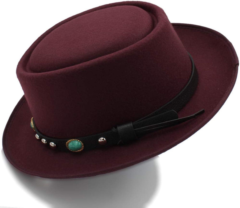 Fashion Warm Comfortable Hats for Women 8color Fashion Unisex Classic Felt Pork Pie Porkpie Hat Cap Upturn Feodora Hats Short Brim Black Ribbon