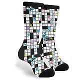 Crossword Puzzle Socks Men's Women's Fun Novelty Crew Socks
