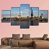 5 piezas de arte de pared en lienzo, vista de imagen del puerto de amsterdam, impresiones en lienzo, imágenes, óleo para el hogar