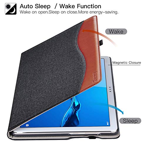 ZtotopCase Hülle für Huawei MediaPad M5 Lite 10, Premium Kunstleder Leichte Case mit Auto Schlaf/Wach Funktion und Pen Halter, für Huawei MediaPad M5 Lite 10.1 Zoll 2018 Modell, Denim Schwarz - 5