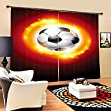 DKMDT Cortina 3D de Sombra de Alta precisión para Sala de Estar u Hotel, Burning Fire Football 3D Impresión Digital estéreo