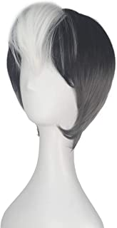 Miss U Hair Short Straight Hair White Bang with Black Silver Cosplay Costume Wig Men Adult