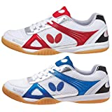 Butterfly Trynex Table Tennis Shoes – Stylish Shoes for Ping Pong – Sizes 4.5-10 – White / Blue or White / Red Shoes – Men or Women Sneakers, Size 7.5