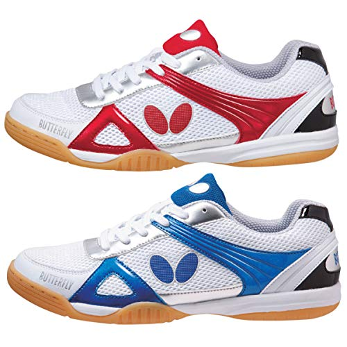Butterfly Lezoline Trynex Table Tennis Shoes with Superior Grip - Stylish Shoes for Ping Pong - White & Blue or White & Red Shoes – Men or Women Sneakers