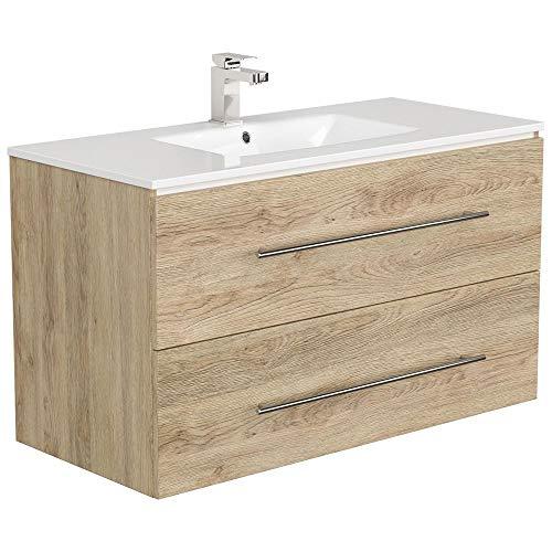 Lomadox Badezimmer Waschtisch mit Unterschrank in Eiche hell, 100cm Keramik-Waschbecken, Softclose-Schubkästen