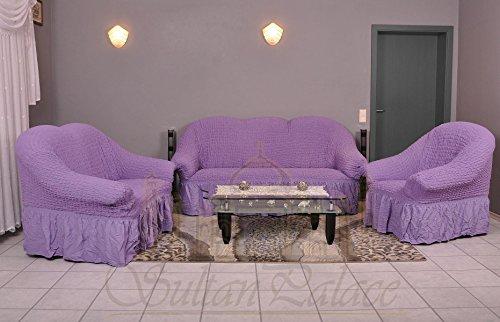 Stretch Sesselschoner, Sesselbezug, Sesselhusse aus Baumwolle & Polyester in lila / flieder....