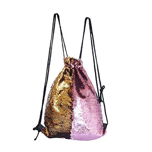 Eyourlife Mermaid Paillettes Zaino con Lacci Glittering Outdoor Tracolla, Winmany Magic Reversibile Glitter Coulisse Zaino, Moda Bling Shining Bag, Borsa Zaino Sportivo (Pink/Gold)