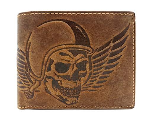 echt Leder Geldbörse quer Hunterleder Portemonnaie mit RFID Schutz Totenkopf Schädel Wing of Hell