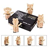 JOY MAGS 3D Animals Puzzles - Pack of 4 Wooden Cute Dinosaur, Owl, Crocodile, Koala Clockwork Model Kits Mechanical Puzzles for Kids Adults Educational Toys
