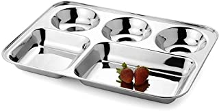 PRC Cafeteria Mess Trays; Stainless Steel 13 In. x 11 In. Rectangular 5-Compartment Divided Plates/Cafeteria Food Trays