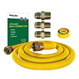 PROCURU 5/8' OD x 72' Gas Flex Line Connector Kit for Stove Range, Furnace WeatherProof Stainless Steel with SafeGuard Coating