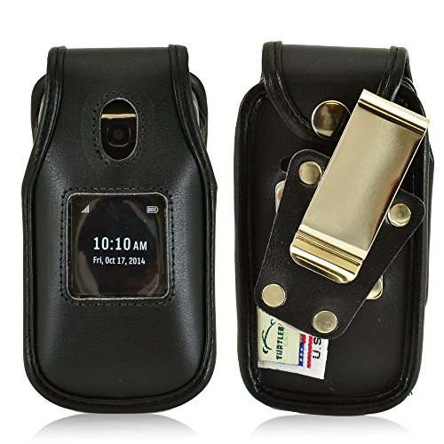 Turtleback Belt Clip Holster Fitted Case Fits Alcatel Onetouch Retro Flip Phone, Black Leather, Made in USA