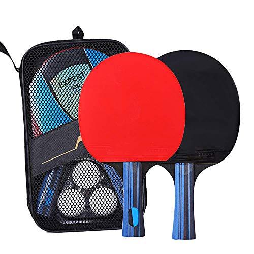 Bocotoer - Set di 2 pipistrelli da ping pong, con racchetta da ping pong, portatile, confezione da 2 pipistrelli, 1 busta, 3 palline