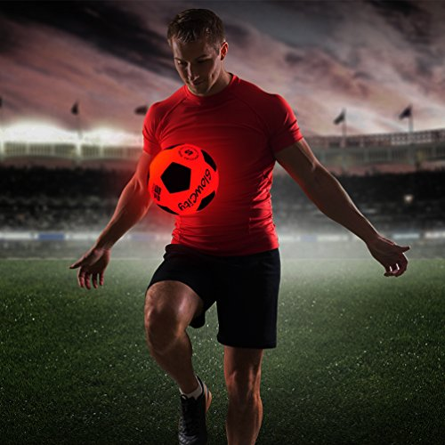 GlowCity Light Up LED Soccer Ball Blazing Red Edition|Glows in The Dark with Hi-Bright LED Lights - Size 5 Missouri