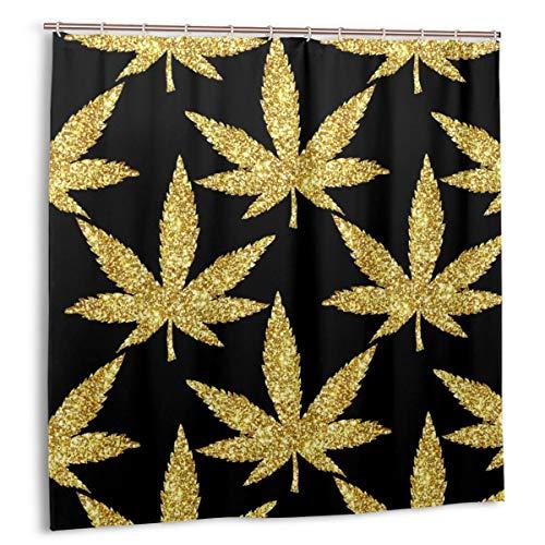 Wdoci Duschvorhang,Golden Glitter Sparkling Cannabis hinterlässt nahtlosen Marihuana-Karneval,Wasserdicht Bad Vorhang mit Haken 180cmx180cm