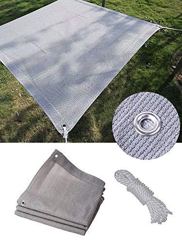 SH Malla de jardín con protección solar, tela de sombra con ojales de metal y cuerda de 8 m para cubrir plantas, invernadero, balcón, patio al aire libre
