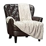 Chanasya Soft Textured Solid Beige Cream Faux Fur and Velvety Mink Throw Blanket - Cozy Blanket for Sofa Chair Couch Bed and Living Room - Reversible Silky Royal Luxurious Blanket (50x65 Inches) Sand