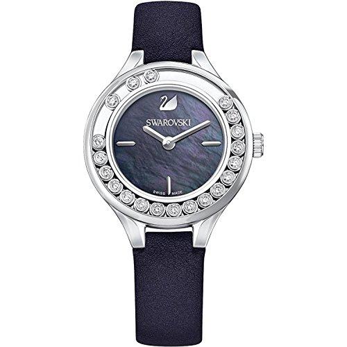 Swarovski Femme Bracelet Cuir Noir Boitier Acier Inoxydable Quartz Cadran Nacre Analogique Montre 5242898