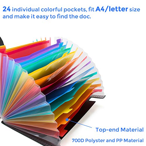 24 Pockets Expanding File Folder with Cover Accordian File Organizer Portable A4 Letter Size File Box,High Capacity Plastic Colored Paper Document Organizer Filing Folder Organizer Photo #7
