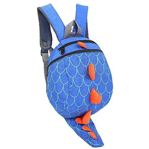 de Los Niños Perdidos-anti Arnés de Seguridad Del Bebé de Los Muchachos Mochilas chicas del Paquete Dinosaurio Bolsas (Azul)