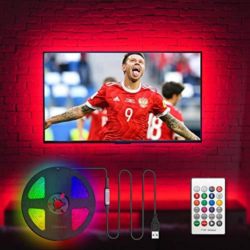 HAMLITE LED TV Backlight for 50 55 Inches TV Bias Lighting - 12ft USB TV Lights Strip for 50 55 Inch HDTV - Cover 4/4 Sides TVs Without Dark Spot, 18 Colors, 6 Dynamic Modes