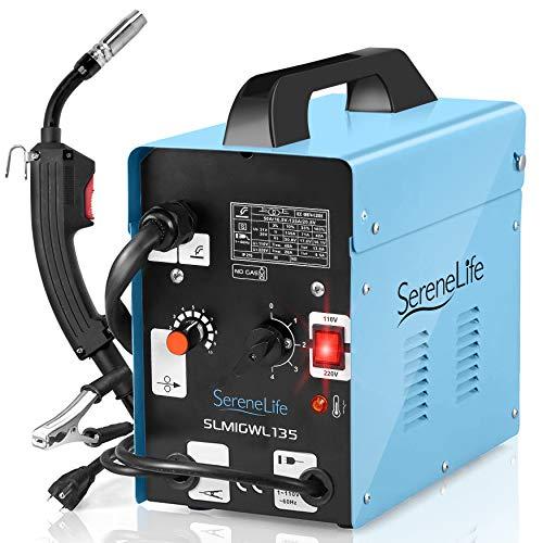 SereneLife Inverter MIG Welding Machine - Dual Voltage 110/220v, No Gas,120 Amp MIG Inverter Welder w/Adjustable Speed - Full Starter Kit: Welding Gun, Ground Wire, Brush, Mask - SLMIGWL135