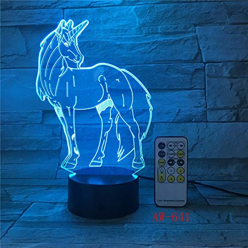 Only 1 Piece Unicorn Romantic Gift 3D LED Table Lamp 7 Color Change Night Light Room Decor Lustre Holiday Girlfriend Kid Toys