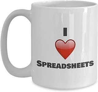 I love Spreadsheets Coffee Mug - Unique ceramic Gifts Idea