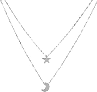Simple Women's Doublelayer Necklace Star and Moon Pendant Necklace - Fashion Gold Silver Neck Chains Choker for Teen Girls Ladies Women Party Ball Date Jewelry